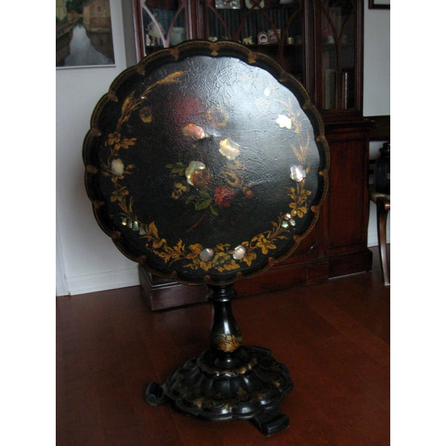 19th Century Victorian Paper Mache Tilt Top Round Table For Sale - Image 9 of 10
