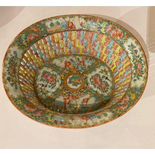 Rose Medallion Pierced Bowl and Under Plate For Sale In Dallas - Image 6 of 13