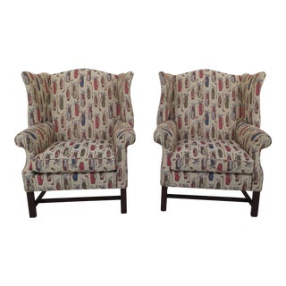 1990s Vintage Golf Bag Upholstered Chippendale Wingback Chairs- A Pair For Sale