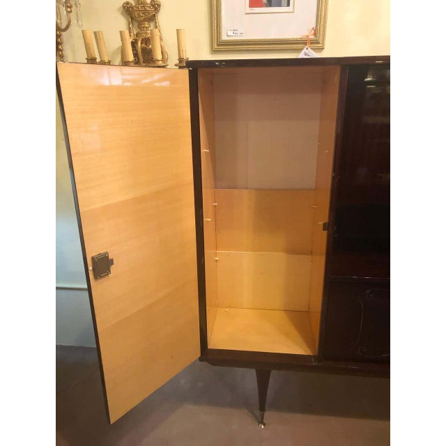 Large Mid-Century Modern Italian Mahogany China Cabinet Bar Manner of Gio Ponti For Sale - Image 4 of 13