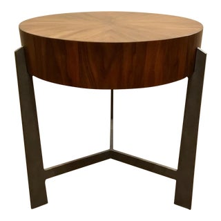 Modern Round Wooden End Table For Sale