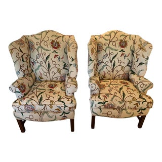 Classic Crewel Upholstered Wingback Chairs -A Pair For Sale