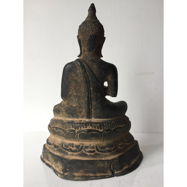 1960s Vintage Iron Seated Buddha Sculpture For Sale - Image 5 of 11