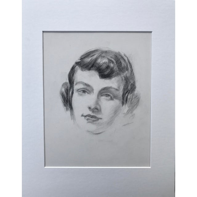 Realism Vintage Mid Century Pencil Drawing Portrait of a Woman C.1950s For Sale - Image 3 of 5