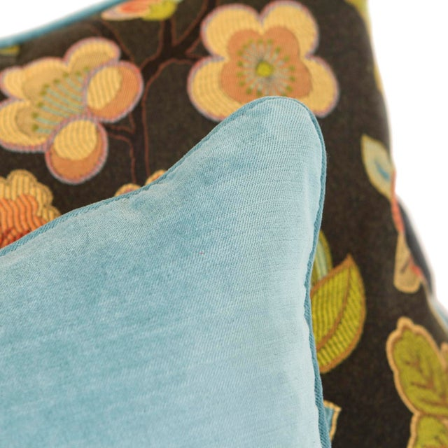 Cherry Blossom and Aqua Velvet Pillows - Pair For Sale In Seattle - Image 6 of 6