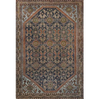 Wool Handwoven Persian Malayer Rug From the Late 19th Century For Sale