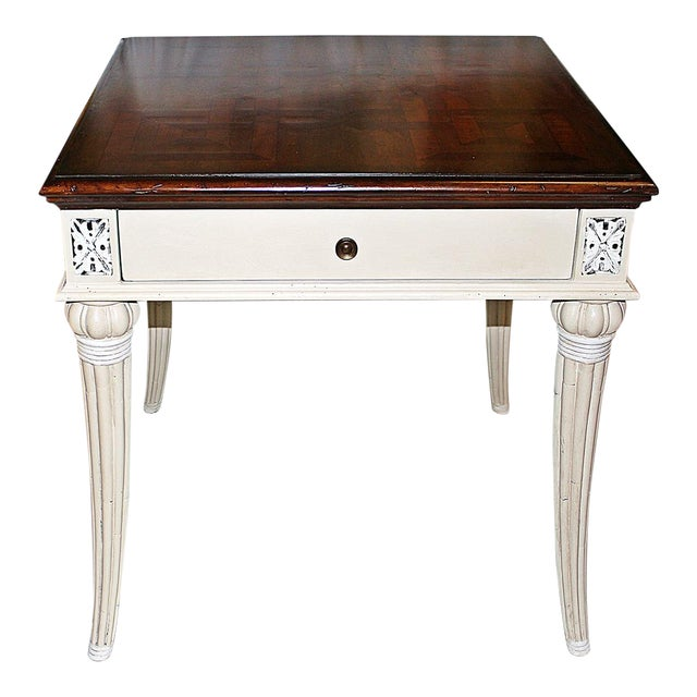 Parquetry-Top Painted Side-Table For Sale