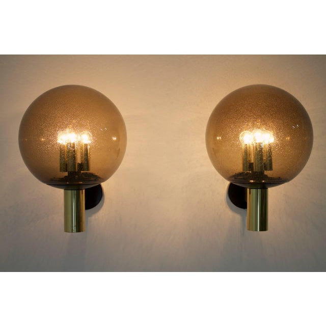 1970s Limburg Wall Lights With Smoked Glass and Brass 1970s - Four Available For Sale - Image 5 of 8