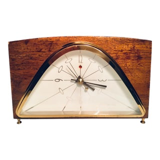 Mid Century Mahogany Alarm Clock For Sale