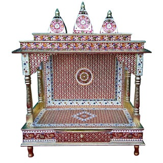 Meenakari Multicolor Large Size Home Puja Mandir Hindu Temple Mandapam Altar For Sale