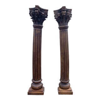 Antique Corinthian Style Carved Mahogany Columns - a Pair For Sale