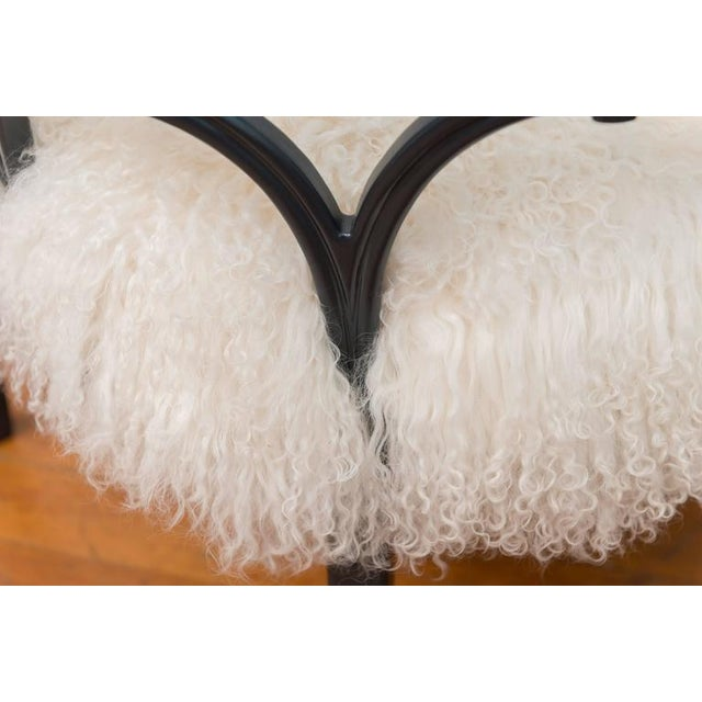 White Pair of Grey Lacquered Mongolian Sheepskin Armchairs For Sale - Image 8 of 9