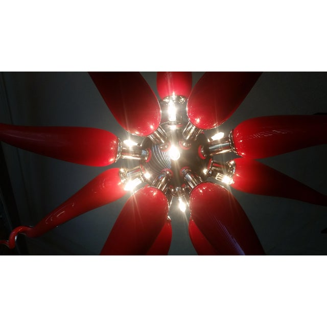 Beautiful Red Modern Blown Glass Chandelier - Image 4 of 7