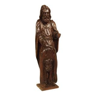 18th Century Carved Oak Statue Depicting St. Bartholomew For Sale