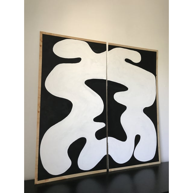 Abstract Hannah Polskin Abstract Butterfly Monochrome Diptych - 2 Pieces For Sale - Image 3 of 10
