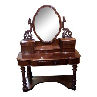 1880s English Traditional Wooden Dresser With Mirror For Sale