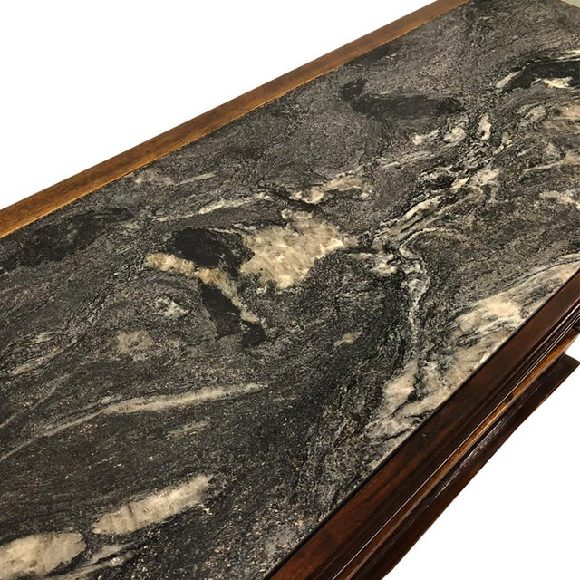 Early American Exceptional Antique Eastlake Victorian Granite Top Carved Side End Hall Table For Sale - Image 3 of 10