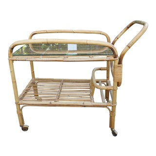 Vintage Bamboo and Rattan Bar Cart / Tea Cart For Sale