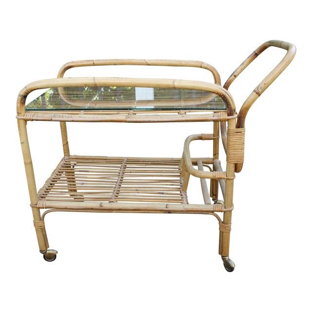 Vintage Bamboo and Rattan Bar Cart / Tea Cart For Sale