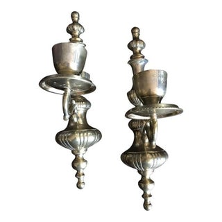 1950s Federal Style Brass Candle Holders - a Pair For Sale