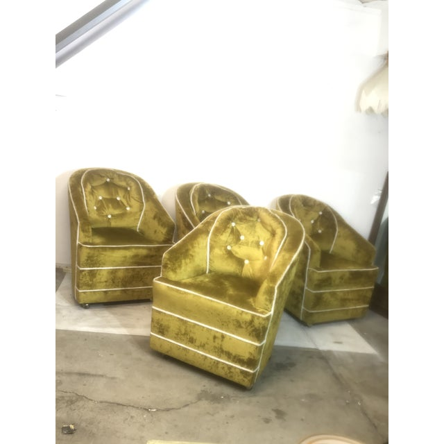 Textile 1970s Milo Baughman Green Barrel Club Chairs- Set of 4 For Sale - Image 7 of 10