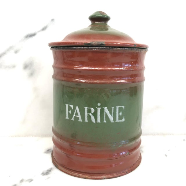 Vintage French Enamel Kitchen Canister Set Red/Green - 6 Pieces For Sale - Image 4 of 10