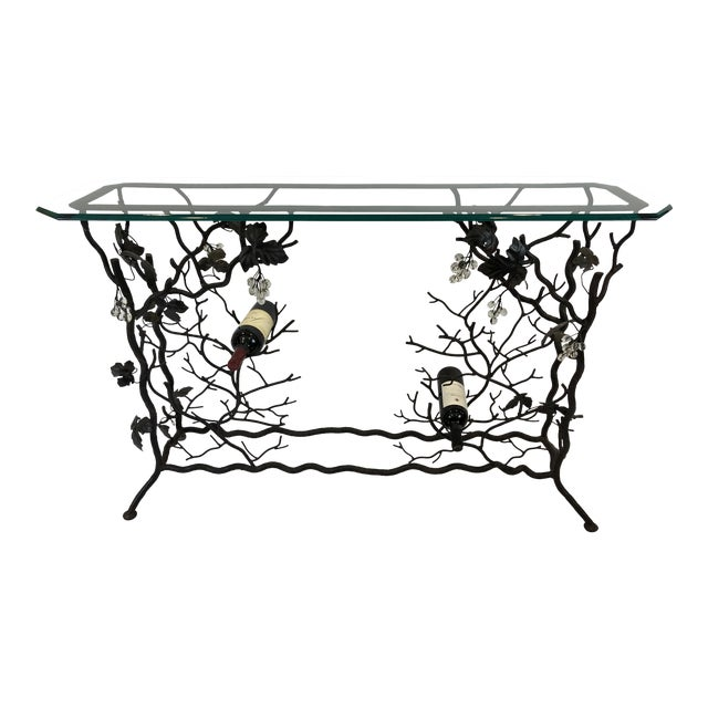 1980s Traditional Hand Forged Iron Console Table and Wine Rack For Sale