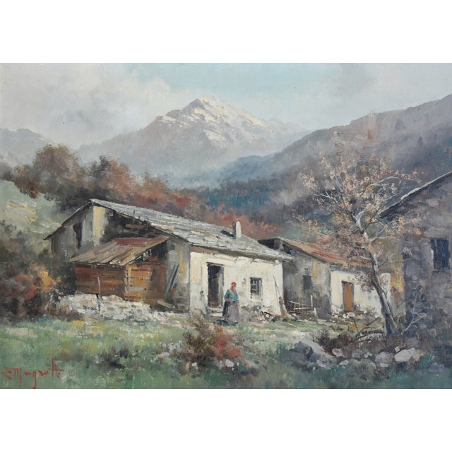 Early-20th-century framed oil painting of a country cottage with mountains in the background. Illegible signature lower...