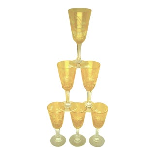 1900s Victorian Amber Cut to Clear Sherry Stemware - Set of 6 For Sale