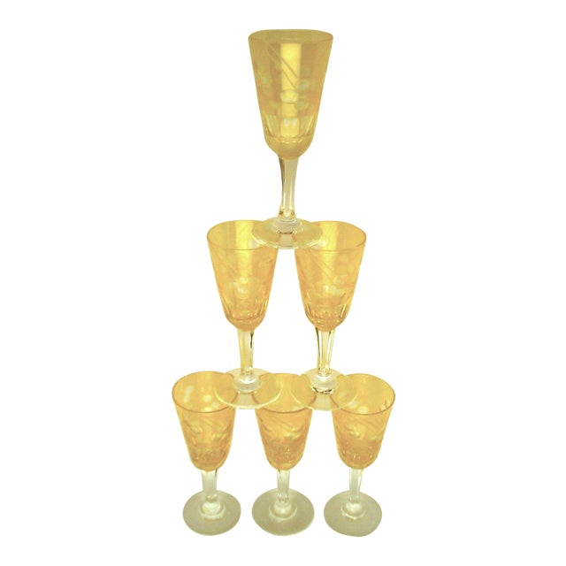 Victorian Amber Cut to Clear Sherry Stemware - Set of 6 For Sale