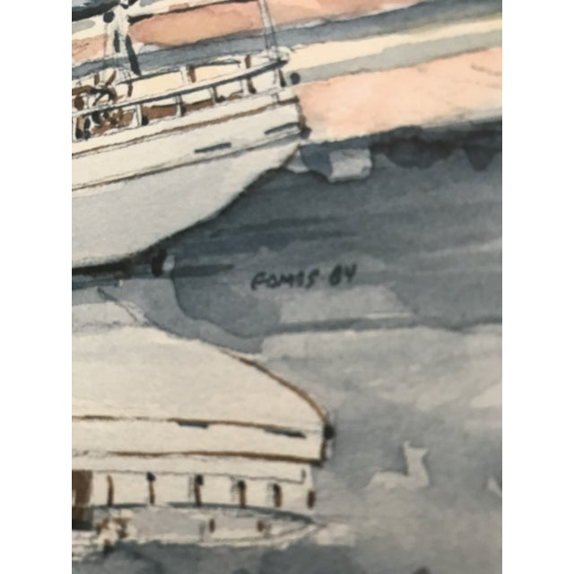 Late 20th Century Sailboat Watercolor Print Lithograph - Numbered and Signed For Sale - Image 5 of 8