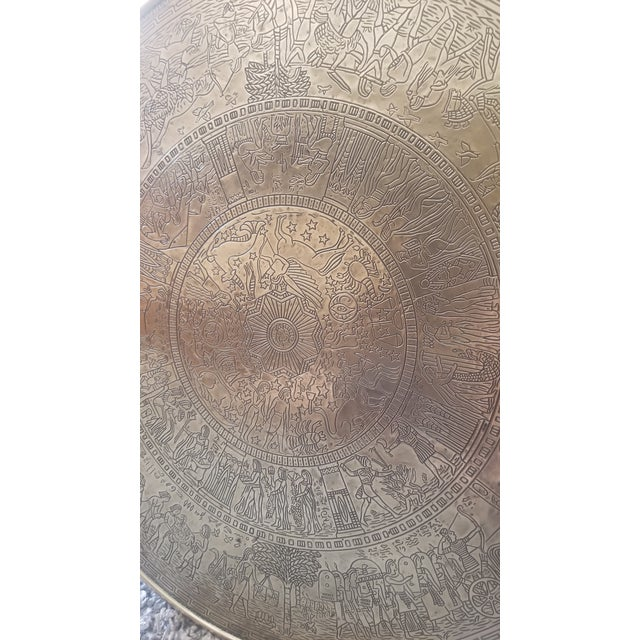 Metal Vintage Egyptian Revival Brass Top Double Tiered Accent Table For Sale - Image 7 of 11