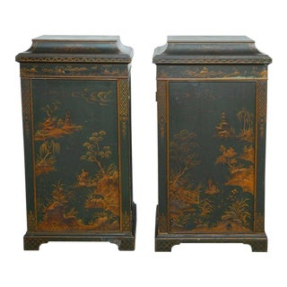 English Green Lacquer Japanned Chinoiserie Pagoda Cabinets - a Pair For Sale