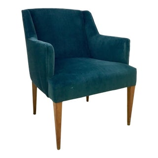 1950s Arm Chair in Blue Velvet For Sale