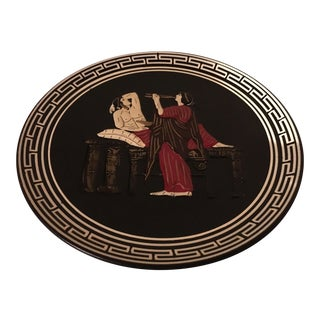 Vintage Greek Art Pottery Decorative Hanging Plate For Sale