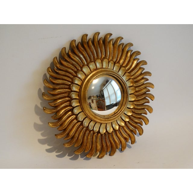 1980s French Gilt Sunburst Convex Mirror For Sale - Image 5 of 8