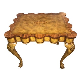 Traditional Theodore Alexander Scallop Edge Side Table For Sale