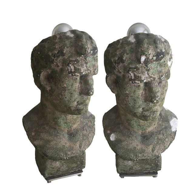 Distressed Stoneware Bust Lamps - Pair - Image 1 of 4