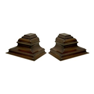Pair of Large Scale Mahogany & Brass Wall Brackets by Chapman For Sale