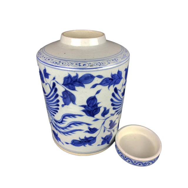 """1970s Chinoiserie B & W Phoenix Porcelain Ginger Jar 11.75"""" H For Sale - Image 5 of 8"""