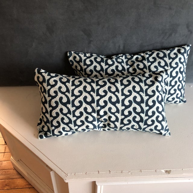 Navy Waves Hand Stitched Pillows - A Pair - Image 6 of 7