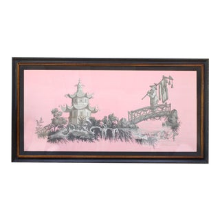 Vintage Chinoiserie Pagoda & Botanic Scenes of East Asia Painting in Grisailles on Pink For Sale