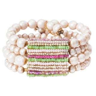 Miriam Haskell Pearl and Pastel Beaded Cuff For Sale