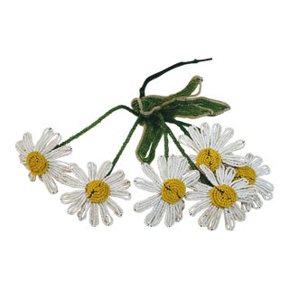 Vintage French Beaded Flower Daisy Stems For Sale