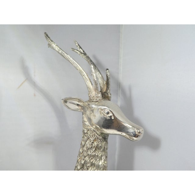 Miniature Silvered Brass Deer Figurines - a Pair For Sale In Miami - Image 6 of 12