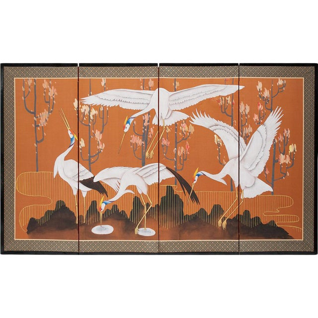 1960s Japanese Dancing Cranes Screen For Sale