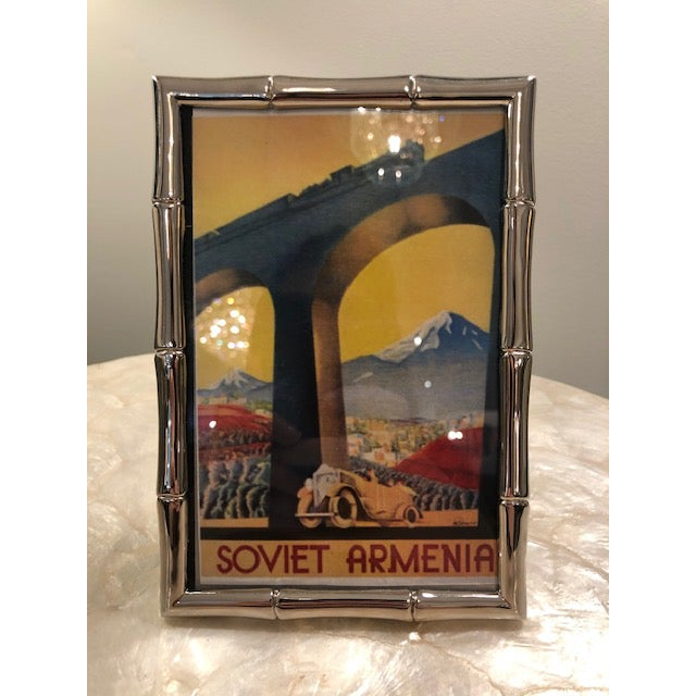 1980s Vintage Silverplate Bamboo Frame W/ Picture Included For Sale - Image 4 of 4