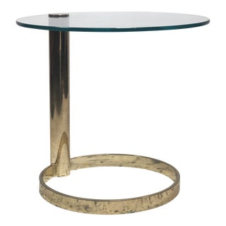 Pace Collection Circular Cantilevered Glass & Brass Side Table For Sale