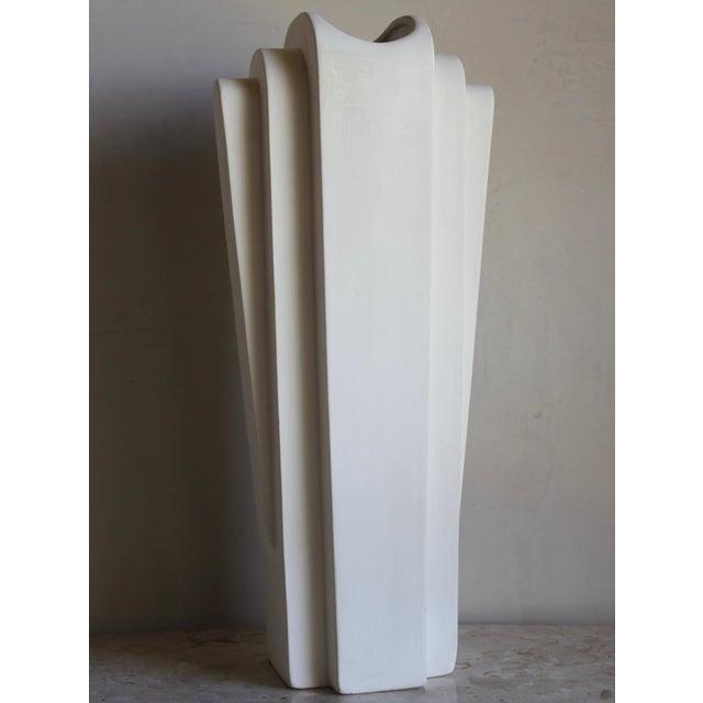 Vintage Mid Century Art Deco Machine Age Bisque Vase For Sale - Image 11 of 11