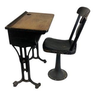 Antique Cast Iron and Wood Child Desk Set - 2 Pieces For Sale